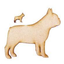 6mm MDF Wooden Laser Cut Card Craft Shapes various sizes - French Bulldog